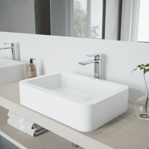 VIGO Petunia Matte Stone Vessel Bathroom Sink with Norfolk Faucet in a Chrome Finish, Pop-Up Drain Included