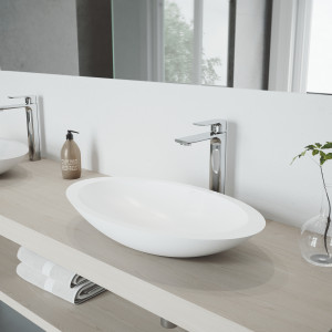 VIGO Wisteria Matte Stone Vessel Bathroom Sink with Norfolk Faucet in a Chrome Finish, Pop-Up Drain Included