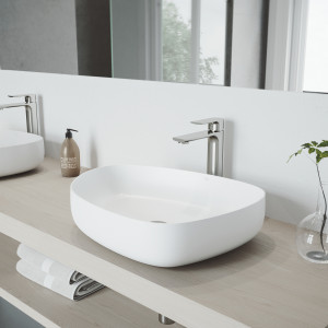 VIGO Peony Matte Stone Vessel Bathroom Sink with Norfolk Faucet in a Brushed Nickel Finish, Pop-Up Drain Included