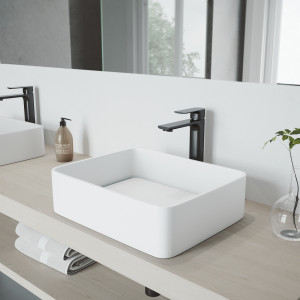 VIGO Jasmine Matte Stone Vessel Bathroom Sink with Norfolk Faucet in a Matte Black Finish, Pop-Up Drain Included