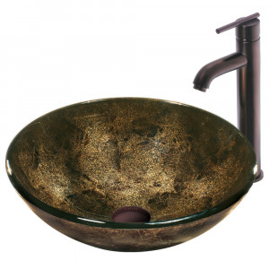 Sintra Glass Vessel Sink and Faucet Set in Oil Rubbed Bronze