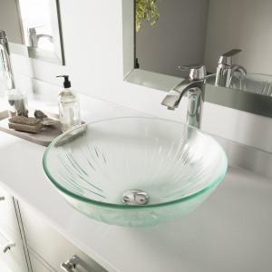 VIGO Icicles Glass Vessel Bathroom Sink Set With Linus Vessel Faucet In  Chrome