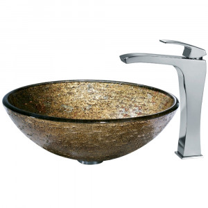 Textured Copper Glass Vessel Sink and Faucet Set in Chrome