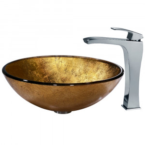 Liquid Gold Glass Vessel Sink and Faucet Set in Chrome