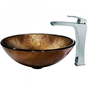 Russet Glass Vessel Sink and Faucet Set in Chrome