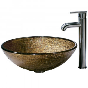 Textured Copper Glass Vessel Sink and Faucet Set in Brushed Nickel