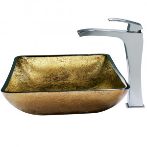 Rectangular Copper Glass Vessel Sink and Faucet Set in Chrome