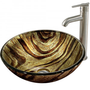 Zebra Glass Vessel Sink and Faucet Set in Brushed Nickel
