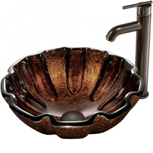 Walnut Shell Glass Vessel Sink and Faucet Set in Oil Rubbed Bronze