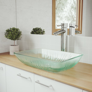 VIGO Rectangular Icicles Glass Vessel Bathroom Sink Set With Shadow Vessel Faucet In Chrome