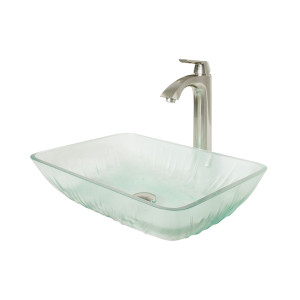 VIGO Rectangular Icicles Glass Vessel Bathroom Sink Set With Linus Vessel Faucet In Brushed Nickel