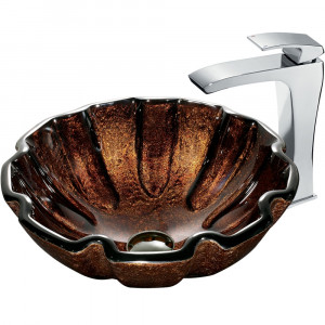 Walnut Shell Glass Vessel Sink and Faucet Set in Chrome