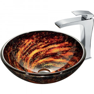 Northern Lights Glass Vessel Sink and Faucet Set in Chrome
