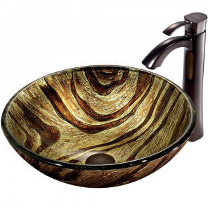 Zebra Glass Vessel Sink and Faucet Set in Oil Rubbed Bronze
