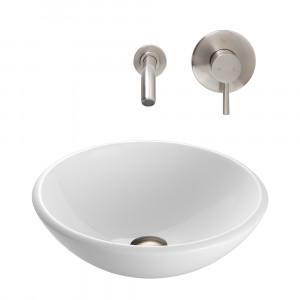 VIGO Elizabeth Phoenix Stone Vessel Bathroom Sink Set With Olus Wall Mount Faucet In Brushed Nickel