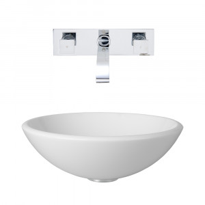 VIGO Elizabeth Phoenix Stone Vessel Bathroom Sink Set With Titus Wall Mount Faucet In Chrome