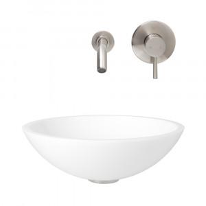 VIGO Victoria Phoenix Stone Vessel Bathroom Sink Set With Olus Wall Mount Faucet In Brushed Nickel