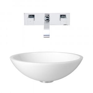 VIGO Victoria Phoenix Stone Vessel Bathroom Sink Set With Titus Wall Mount Faucet In Chrome