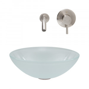 White Frost Vessel Sink and Wall Mount Faucet Set in Brushed Nickel