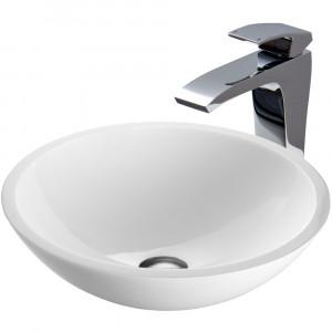 VIGO Victoria Phoenix Stone Vessel Bathroom Sink Set With Blackstonian Vessel Faucet In Chrome