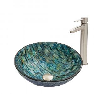 VIGO Oceania Glass Vessel Bathroom Sink Set With Shadow Vessel Faucet In Brushed Nickel