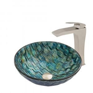 VIGO Oceania Glass Vessel Bathroom Sink Set With Blackstonian Vessel Faucet In Brushed Nickel