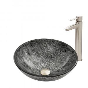 VIGO Titanium Glass Vessel Bathroom Sink Set With Shadow Vessel Faucet In Brushed Nickel
