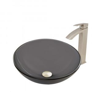 VIGO Sheer Black Frost Glass Vessel Bathroom Sink Set With Duris Vessel Faucet In Brushed Nickel