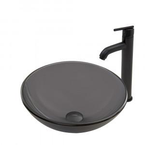 VIGO Sheer Black Frost Glass Vessel Bathroom Sink Set With Seville Vessel Faucet In Matte Black