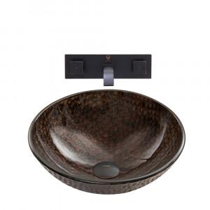VIGO Copper Shield Glass Vessel Bathroom Sink Set With Titus Wall Mount Faucet In Antique Rubbed Bronze