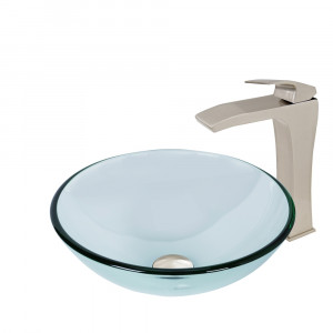 Crystalline Glass Vessel Sink and Blackstonian Vessel Faucet Set in a Brushed Nickel Finish