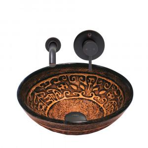 VIGO Golden Greek Glass Vessel Sink and Olus Wall Mount Faucet Set in Antique Rubbed Bronze