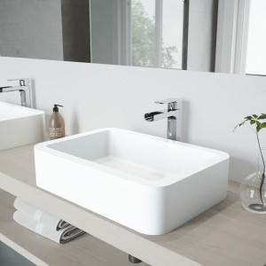 VIGO Petunia Matte Stone Vessel Bathroom Sink Set With Amada Faucet In Chrome