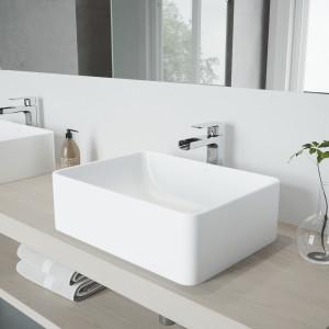 VIGO Amaryllis Matte Stone Vessel Bathroom Sink Set With Amada Faucet In Chrome