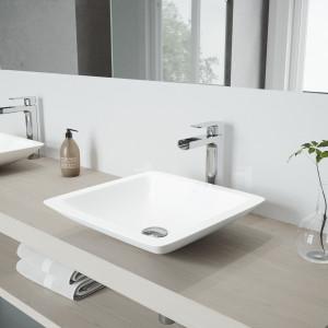 VIGO Begonia Matte Stone Vessel Bathroom Sink Set With Amada Faucet In Chrome