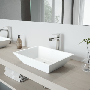 VIGO Vinca Matte Stone Vessel Bathroom Sink Set With Amada Faucet In Brushed Nickel