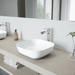 VIGO Camellia Matte Stone Vessel Bathroom Sink Set With Amada Faucet In Brushed Nickel