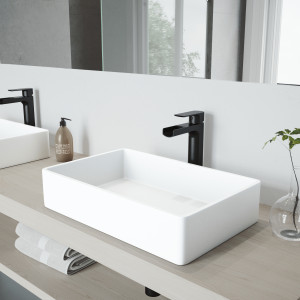 VIGO Magnolia Matte Stone Vessel Bathroom Sink Set With Amada Faucet In Matte Black