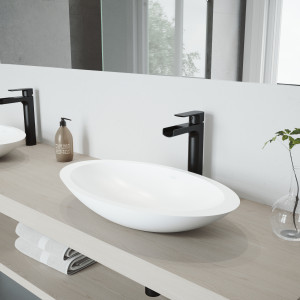 VIGO Wisteria Matte Stone Vessel Bathroom Sink Set With Amada Faucet In Matte Black