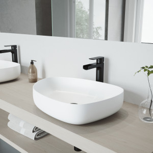 VIGO Peony Matte Stone Vessel Bathroom Sink Set With Amada Faucet In Matte Black