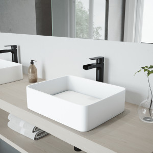 VIGO Jasmine Matte Stone Vessel Bathroom Sink Set With Amada Faucet In Matte Black