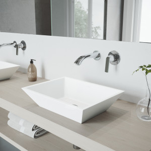 VIGO Vinca Matte Stone Vessel Bathroom Sink Set With Aldous Wall Mount Faucet In Chrome