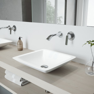 VIGO Begonia Matte Stone Vessel Bathroom Sink Set With Aldous Wall Mount Faucet In Chrome