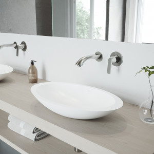 VIGO Wisteria Matte Stone Vessel Bathroom Sink Set With Aldous Wall Mount Faucet In Brushed Nickel
