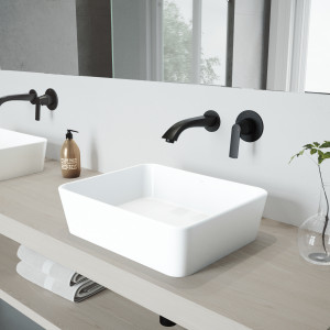 VIGO Marigold Matte Stone Vessel Bathroom Sink Set With Aldous Wall Mount Faucet In Matte Black