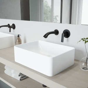 VIGO Amaryllis Matte Stone Vessel Bathroom Sink Set With Aldous Wall Mount Faucet In Matte Black