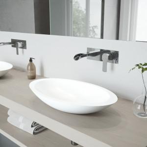 VIGO Wisteria Matte Stone Vessel Bathroom Sink Set With Cornelius Wall Mount Faucet In Chrome