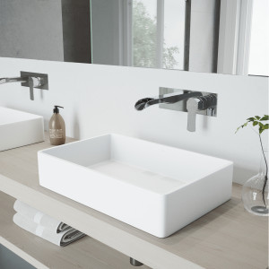 VIGO Magnolia Matte Stone Vessel Bathroom Sink Set With Cornelius Wall Mount Faucet In Chrome