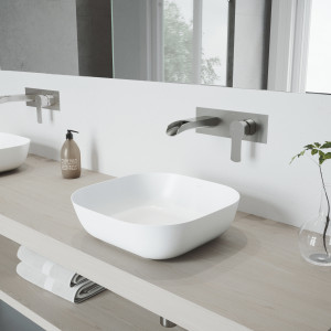VIGO Camellia Matte Stone Vessel Bathroom Sink Set With Cornelius Wall Mount Bathroom Faucet In Brushed Nickel