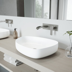 VIGO Peony Matte Stone Vessel Bathroom Sink Set With Cornelius Wall Mount Bathroom Faucet In Brushed Nickel